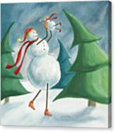 Mother And Baby Snowmen Canvas Print