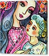 Mother And Child In Blue Canvas Print