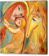 Mother And Child On Horse Canvas Print