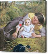 Mother And Child With A Poppy Canvas Print