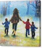 Mother And Three Sons  Canvas Print