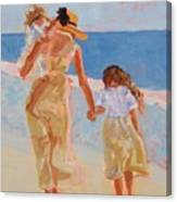 Mother And Two Daughters Canvas Print