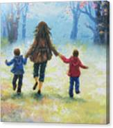 Mother And Two Sons Out For A Walk Canvas Print