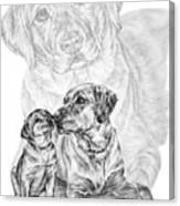 Mother Labrador Dog And Puppy Canvas Print