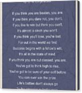 Motivational Poem - The Victor Canvas Print