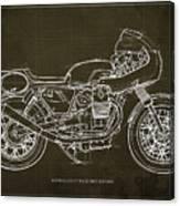 Moto Guzzi V7 Race First Edition Blueprint Blue Background,gift For Bikers Canvas Print