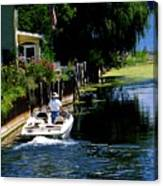 Motor Boat On Canal Canvas Print