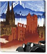 Motoring In Germany - Retro Travel Poster - Vintage Poster Canvas Print