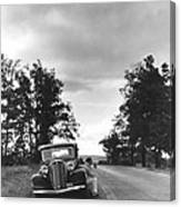 Motorist Parked By Roadside Canvas Print