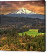 Mount Hood At Sandy River Valley In Fall Canvas Print