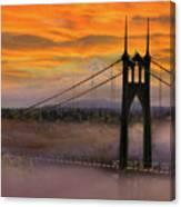 Mount Hood By St Johns Bridge During Sunrise Canvas Print