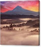 Mount Hood Foggy Sunrise Canvas Print
