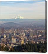 Mount Hood Over City Of Portland Oregon Canvas Print