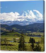 Mount Hood Over Fruit Orchards In Hood River Canvas Print