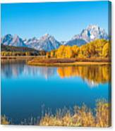 Mount Moran From The Snake River In Autumn Canvas Print