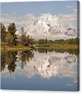 Mount Moran On Oxbow Bend Panorama Canvas Print