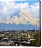 Mount Rainer Over Port Of Tacoma Canvas Print