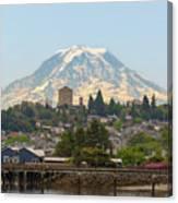 Mount Rainier At Tacoma Waterfront Canvas Print