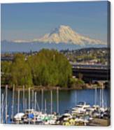 Mount Rainier From Thea Foss Waterway In Tacoma Canvas Print