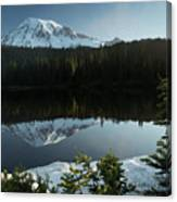 Mount Rainier Reflection Lake W/ Tree Canvas Print