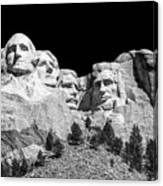 Mount Rushmore Bw Canvas Print