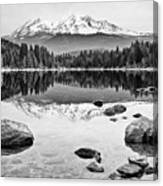 Mount Shasta From Lake Siskiyou In California Canvas Print