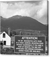 Mount Washington Nh Warning Sign Black And White Canvas Print