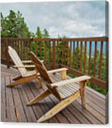 Mountain Adirondack Chairs Canvas Print