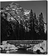 Mountain And Bridge Black And White Canvas Print
