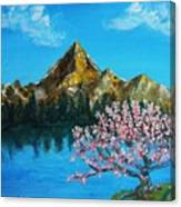 Mountain And Pink Tree Canvas Print