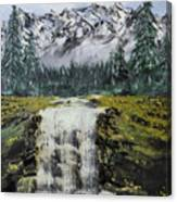 Mountain And Waterfall  Canvas Print