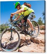 Mountain Biker On The Porcupine Rim Trail Near Moab Canvas Print