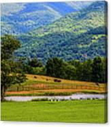Mountain Farm With Pond Canvas Print