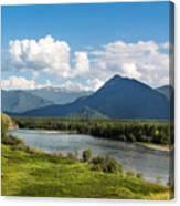 Mountain Filaretka Over Katun River. Altay Canvas Print
