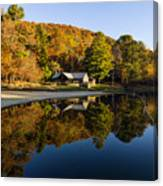 Mountain Lake Beach With Fall Color Reflections Canvas Print