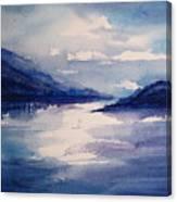Mountain Lake In Blue Canvas Print