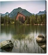 Mountain Lake Under Peaks Canvas Print