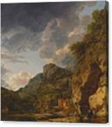 Mountain Landscape With River And Wagon Canvas Print