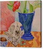 Mountain Lion Skull Tea And Tulips Canvas Print
