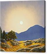Mountain Meadow In Moonlight Canvas Print