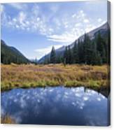 Mountain Pond And Sky Canvas Print