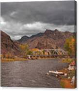 Mountain River Bridge Canvas Print