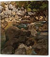 Mountain Stream With Boulders Canvas Print