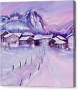 Mountain Village In Snow Canvas Print