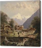 Mountain Village With Alpine Panorama Canvas Print