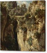 Mountainous Landscape With Waterfall Canvas Print