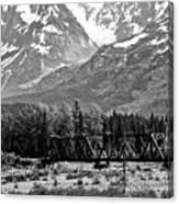 Mountains Alaska Bw Canvas Print