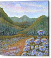 Mountains And Asters Canvas Print