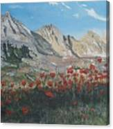Mountains And Poppies Canvas Print