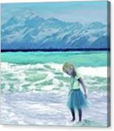 Mountains Ocean With Little Girl  Canvas Print